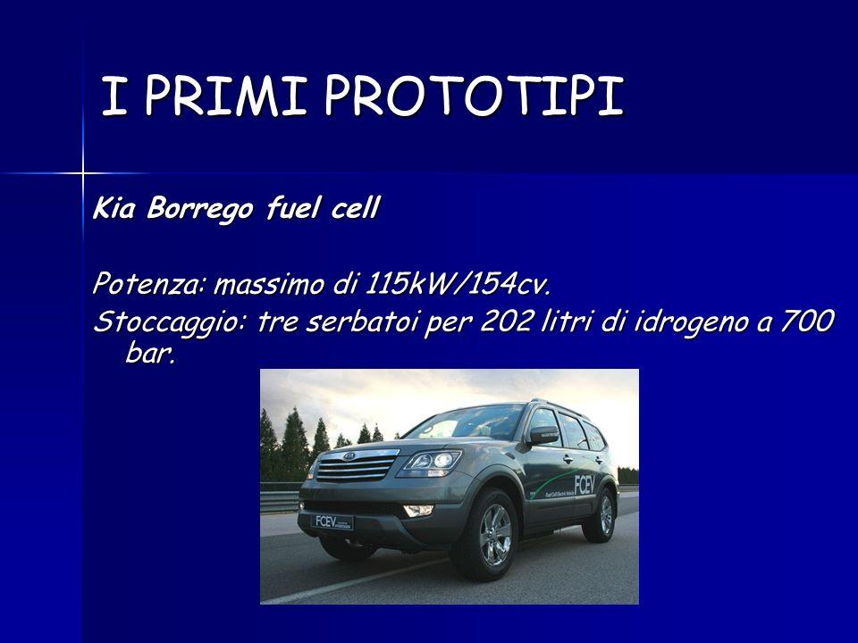 I PRIMI PROTOTIPI Kia Borrego fuel cell Potenza: massimo di 115kW/154cv. Stoccaggio: tre serbatoi per 202 litri di idrogeno a 700 bar.