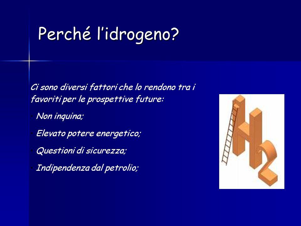 Perché lidrogeno? Ci sono diversi fattori che lo rendono tra i favoriti per le prospettive future: Non inquina; Elevato potere energetico; Questioni d