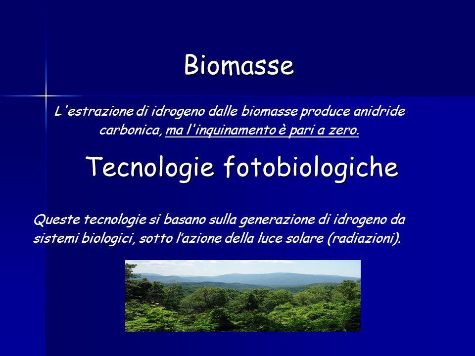 Biomasse L'estrazione di idrogeno dalle biomasse produce anidride carbonica, ma l'inquinamento è pari a zero. Tecnologie fotobiologiche Queste tecnolo
