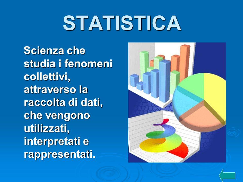 STATISTICA Scienza che studia i fenomeni collettivi, attraverso la raccolta di dati, che vengono utilizzati, interpretati e rappresentati. Scienza che