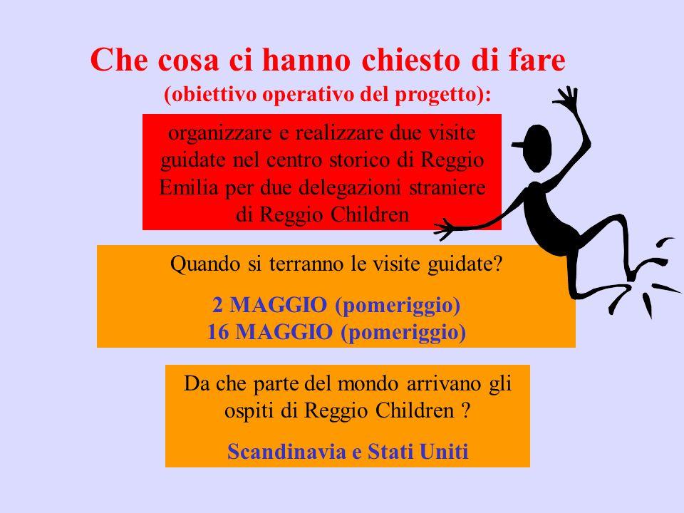Che cosa ci hanno chiesto di fare (obiettivo operativo del progetto): organizzare e realizzare due visite guidate nel centro storico di Reggio Emilia