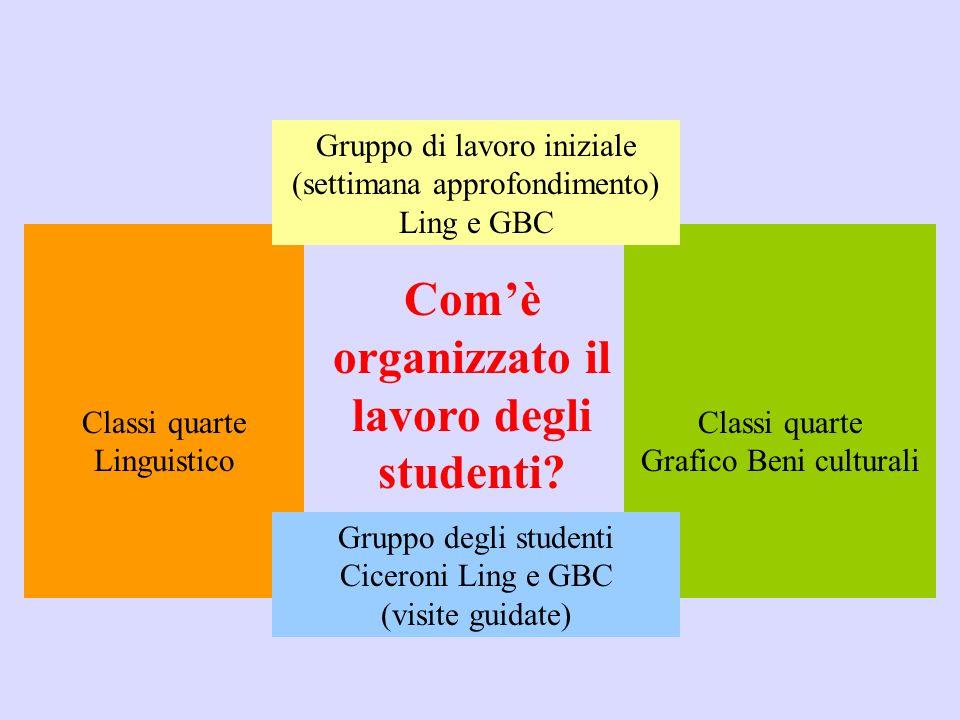 Comè organizzato il lavoro degli studenti? Classi quarte Linguistico Classi quarte Grafico Beni culturali Gruppo degli studenti Ciceroni Ling e GBC (v