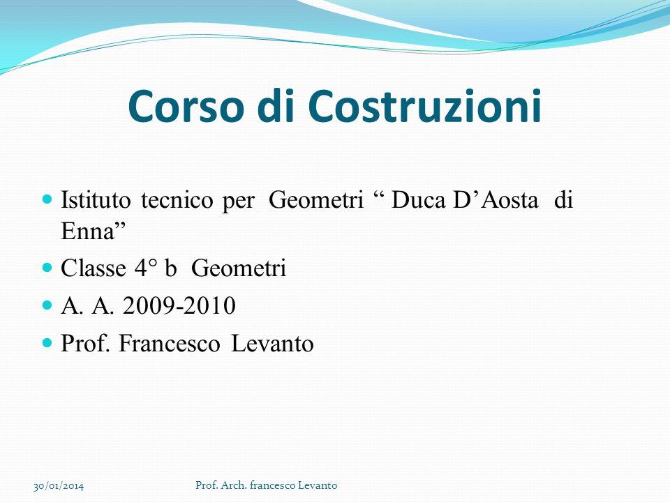 Corso di Costruzioni Istituto tecnico per Geometri Duca DAosta di Enna Classe 4° b Geometri A. A. 2009-2010 Prof. Francesco Levanto 30/01/2014Prof. Ar