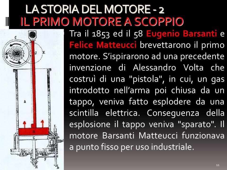 LA STORIA DEL MOTORE - 2 11 IL PRIMO MOTORE A SCOPPIO Tra il 1853 ed il 58 Eugenio Barsanti e Felice Matteucci brevettarono il primo motore. Sispiraro