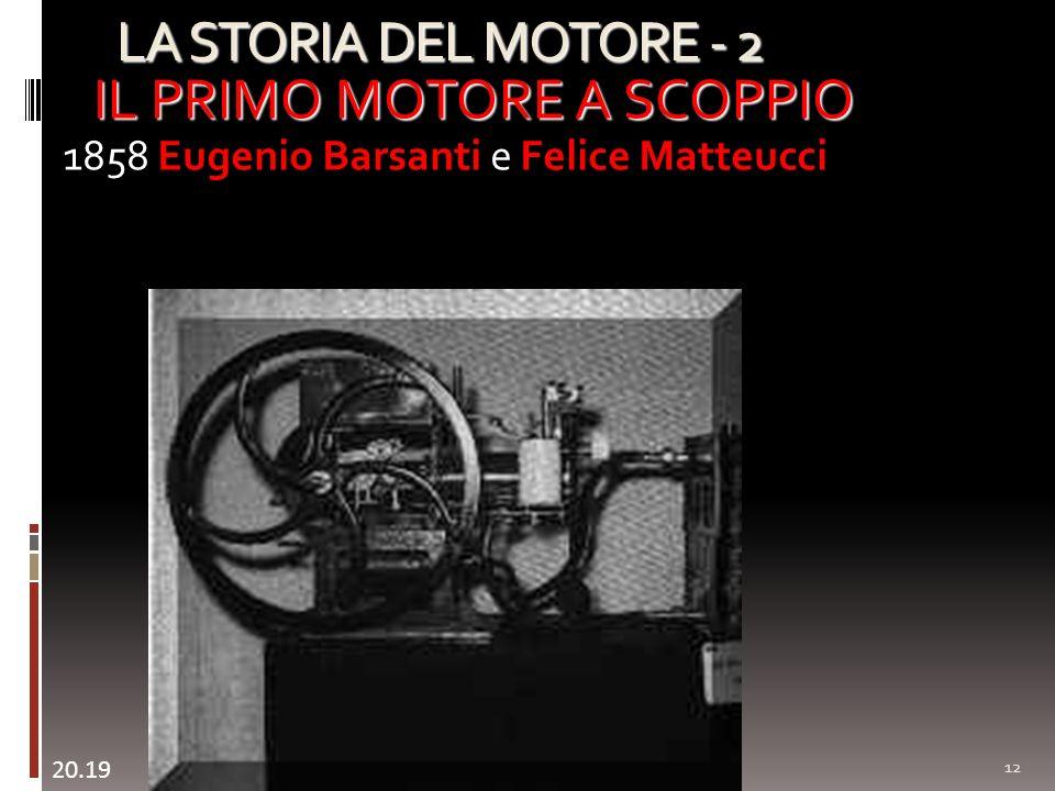LA STORIA DEL MOTORE - 2 12 IL PRIMO MOTORE A SCOPPIO 1858 Eugenio Barsanti e Felice Matteucci 20.20