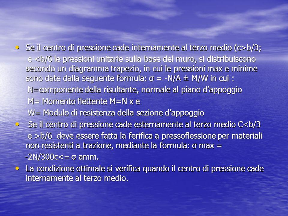 Se il centro di pressione cade internamente al terzo medio (c>b/3; Se il centro di pressione cade internamente al terzo medio (c>b/3; e <b/6 le pressi