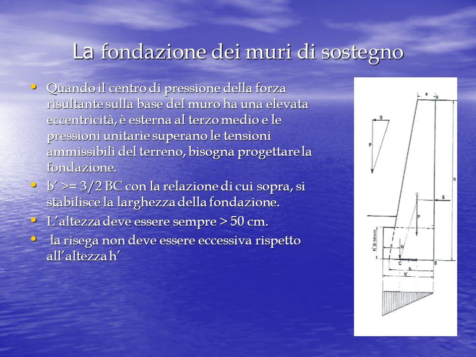 La fondazione dei muri di sostegno Quando il centro di pressione della forza risultante sulla base del muro ha una elevata eccentricità, è esterna al