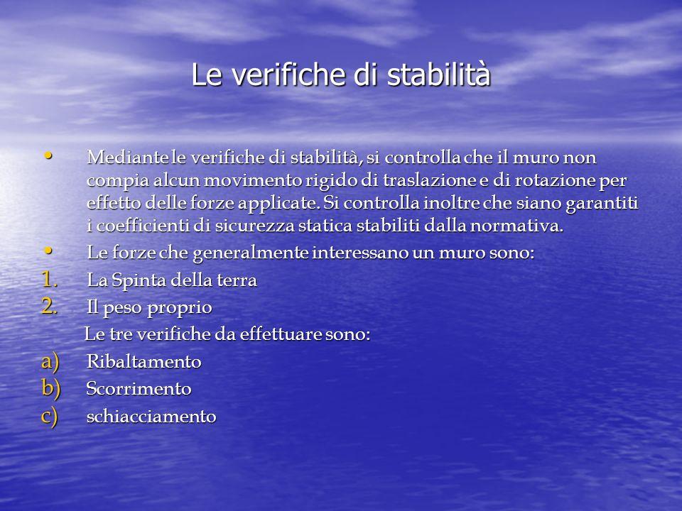 Le verifiche di stabilità Mediante le verifiche di stabilità, si controlla che il muro non compia alcun movimento rigido di traslazione e di rotazione