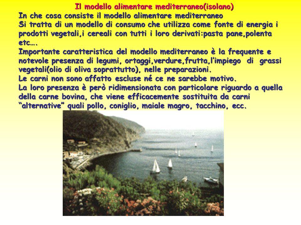 Il modello alimentare mediterraneo(isolano) In che cosa consiste il modello alimentare mediterraneo Si tratta di un modello di consumo che utilizza co