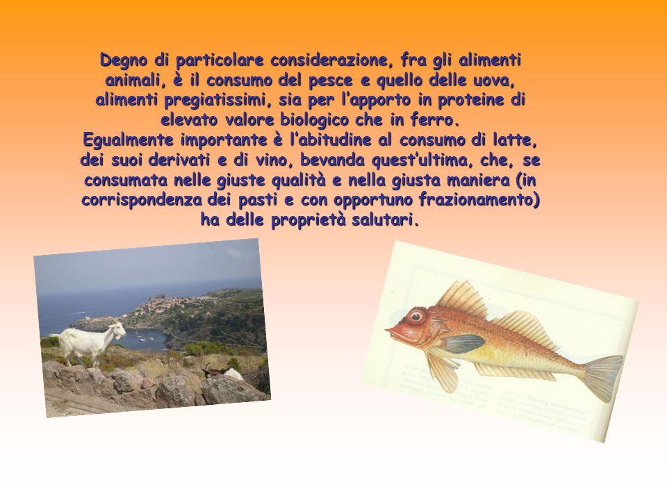 Degno di particolare considerazione, fra gli alimenti animali, è il consumo del pesce e quello delle uova, alimenti pregiatissimi, sia per lapporto in