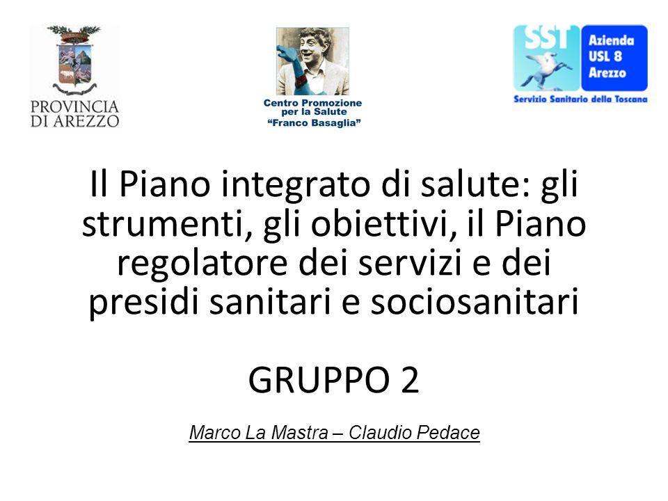Marco La Mastra – Claudio Pedace Il Piano integrato di salute: gli strumenti, gli obiettivi, il Piano regolatore dei servizi e dei presidi sanitari e sociosanitari GRUPPO 2