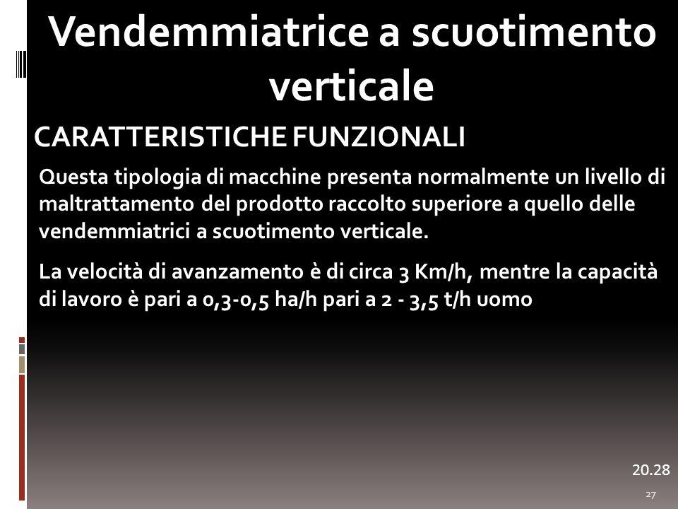 27 Vendemmiatrice a scuotimento verticale 20.29 CARATTERISTICHE FUNZIONALI Questa tipologia di macchine presenta normalmente un livello di maltrattame