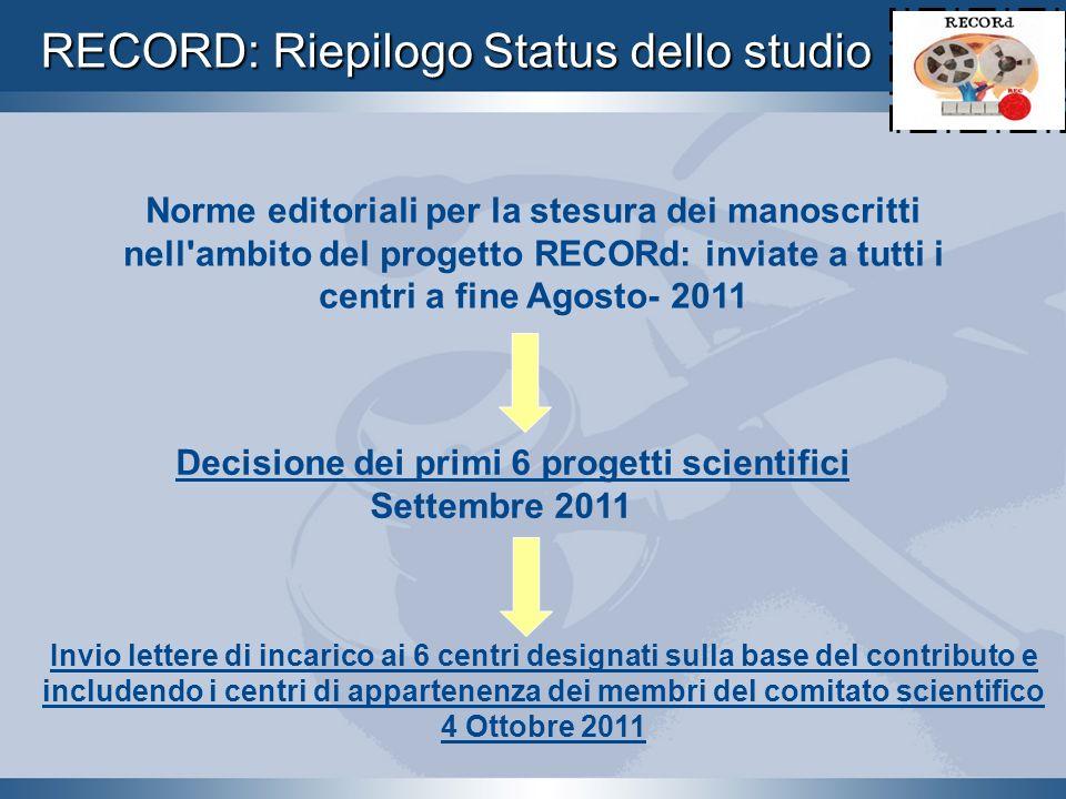 Norme editoriali per la stesura dei manoscritti nell'ambito del progetto RECORd: inviate a tutti i centri a fine Agosto- 2011 Decisione dei primi 6 pr