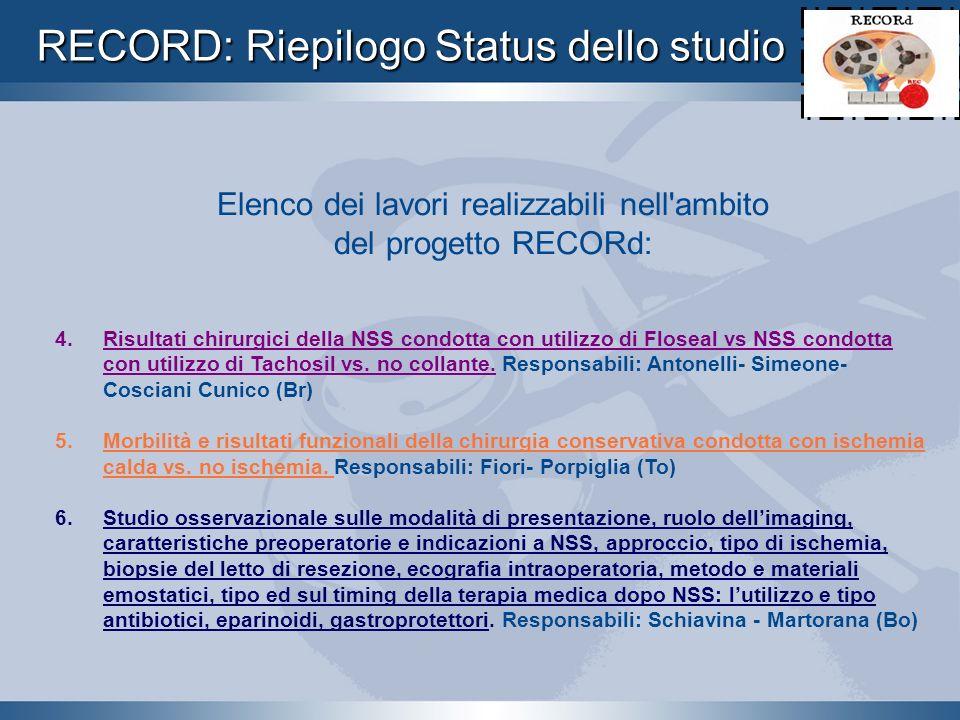 RECORD: Riepilogo Status dello studio Elenco dei lavori realizzabili nell'ambito del progetto RECORd: 4. Risultati chirurgici della NSS condotta con u