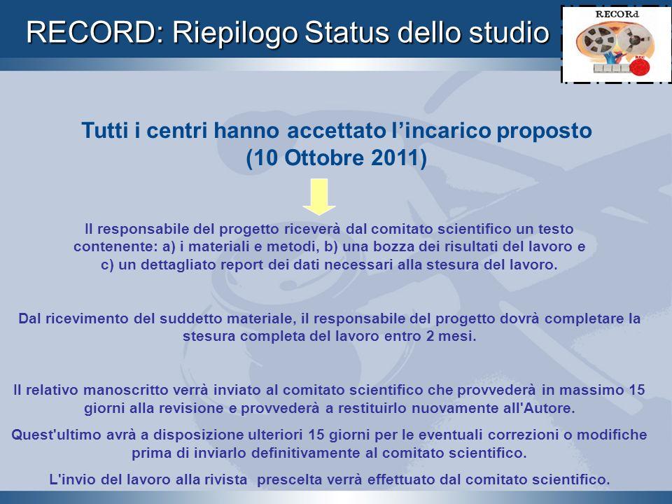 RECORD: Riepilogo Status dello studio Tutti i centri hanno accettato lincarico proposto (10 Ottobre 2011) Il responsabile del progetto riceverà dal co