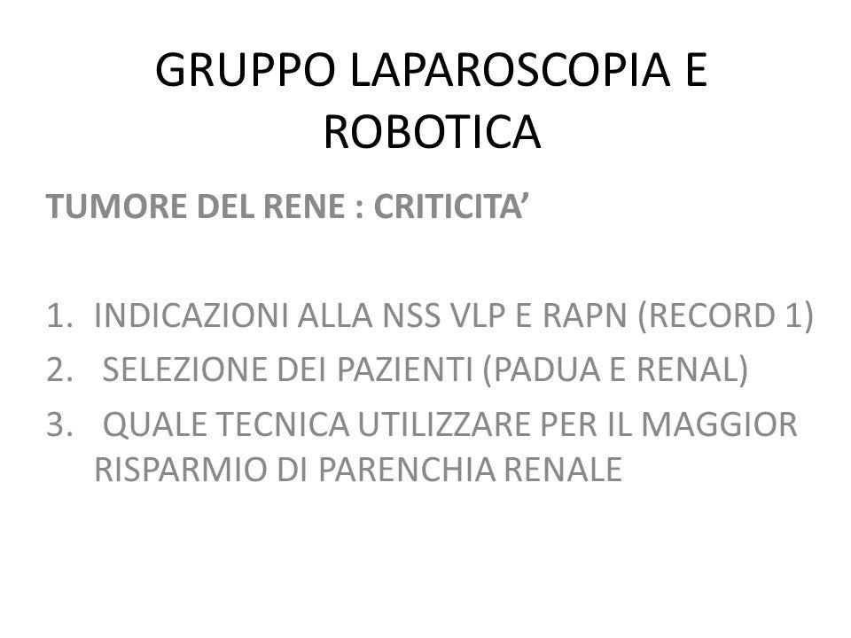 GRUPPO LAPAROSCOPIA E ROBOTICA TUMORE DEL RENE : CRITICITA 1.INDICAZIONI ALLA NSS VLP E RAPN (RECORD 1) 2. SELEZIONE DEI PAZIENTI (PADUA E RENAL) 3. Q