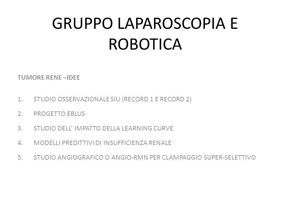 GRUPPO LAPAROSCOPIA E ROBOTICA TUMORE RENE –IDEE 1.STUDIO OSSERVAZIONALE SIU (RECORD 1 E RECORD 2) 2.PROGETTO EBLUS 3.STUDIO DELL IMPATTO DELLA LEARNI