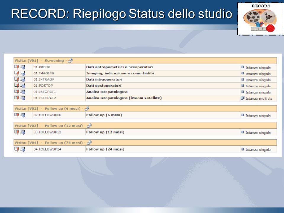 RECORD: Riepilogo Status dello studio