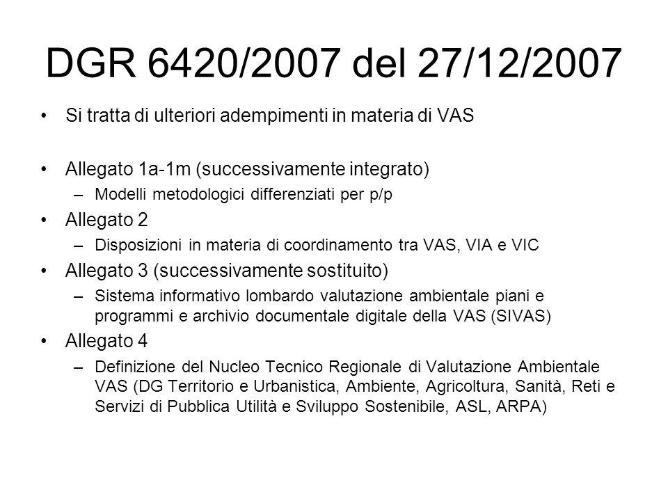 DGR 6420/2007 del 27/12/2007 Si tratta di ulteriori adempimenti in materia di VAS Allegato 1a-1m (successivamente integrato) –Modelli metodologici differenziati per p/p Allegato 2 –Disposizioni in materia di coordinamento tra VAS, VIA e VIC Allegato 3 (successivamente sostituito) –Sistema informativo lombardo valutazione ambientale piani e programmi e archivio documentale digitale della VAS (SIVAS) Allegato 4 –Definizione del Nucleo Tecnico Regionale di Valutazione Ambientale VAS (DG Territorio e Urbanistica, Ambiente, Agricoltura, Sanità, Reti e Servizi di Pubblica Utilità e Sviluppo Sostenibile, ASL, ARPA)