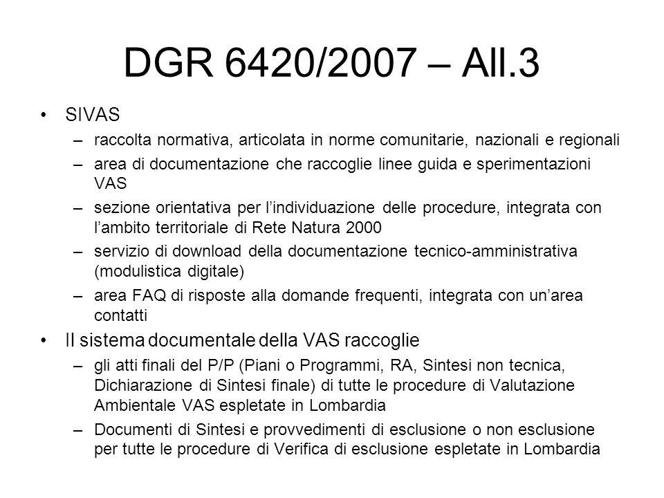 DGR 6420/2007 – All.3 SIVAS –raccolta normativa, articolata in norme comunitarie, nazionali e regionali –area di documentazione che raccoglie linee guida e sperimentazioni VAS –sezione orientativa per lindividuazione delle procedure, integrata con lambito territoriale di Rete Natura 2000 –servizio di download della documentazione tecnico-amministrativa (modulistica digitale) –area FAQ di risposte alla domande frequenti, integrata con unarea contatti Il sistema documentale della VAS raccoglie –gli atti finali del P/P (Piani o Programmi, RA, Sintesi non tecnica, Dichiarazione di Sintesi finale) di tutte le procedure di Valutazione Ambientale VAS espletate in Lombardia –Documenti di Sintesi e provvedimenti di esclusione o non esclusione per tutte le procedure di Verifica di esclusione espletate in Lombardia