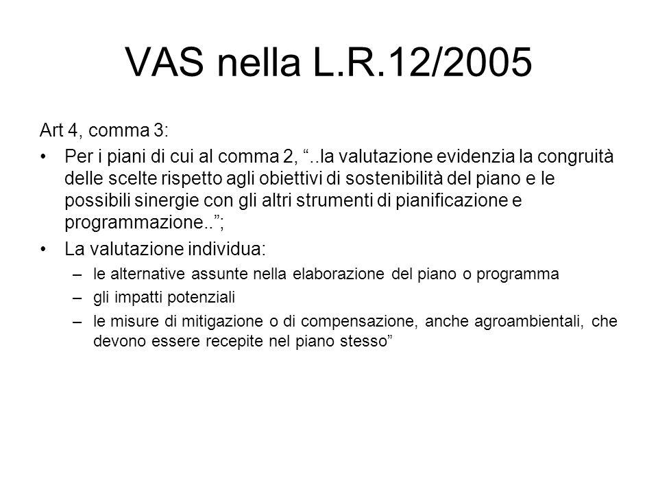 VAS nella L.R.12/2005 Art 4, comma 3: Per i piani di cui al comma 2,..la valutazione evidenzia la congruità delle scelte rispetto agli obiettivi di sostenibilità del piano e le possibili sinergie con gli altri strumenti di pianificazione e programmazione..; La valutazione individua: –le alternative assunte nella elaborazione del piano o programma –gli impatti potenziali –le misure di mitigazione o di compensazione, anche agroambientali, che devono essere recepite nel piano stesso