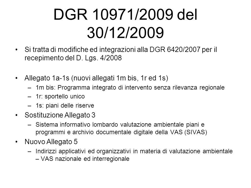 DGR 10971/2009 del 30/12/2009 Si tratta di modifiche ed integrazioni alla DGR 6420/2007 per il recepimento del D.
