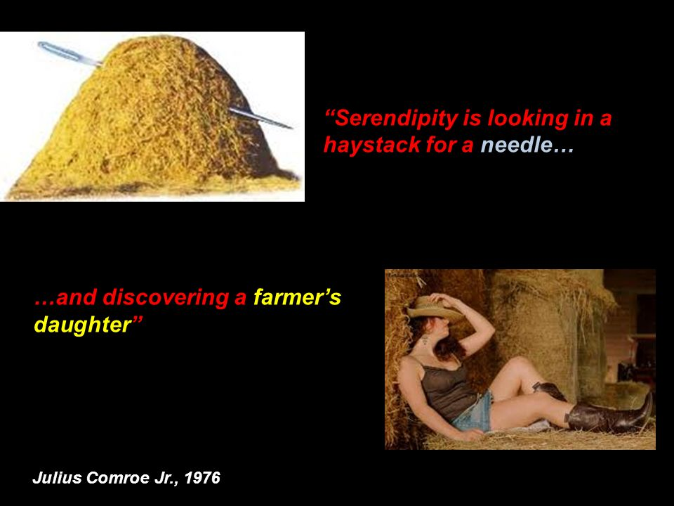 …and discovering a farmers daughter Serendipity is looking in a haystack for a needle… Julius Comroe Jr., 1976