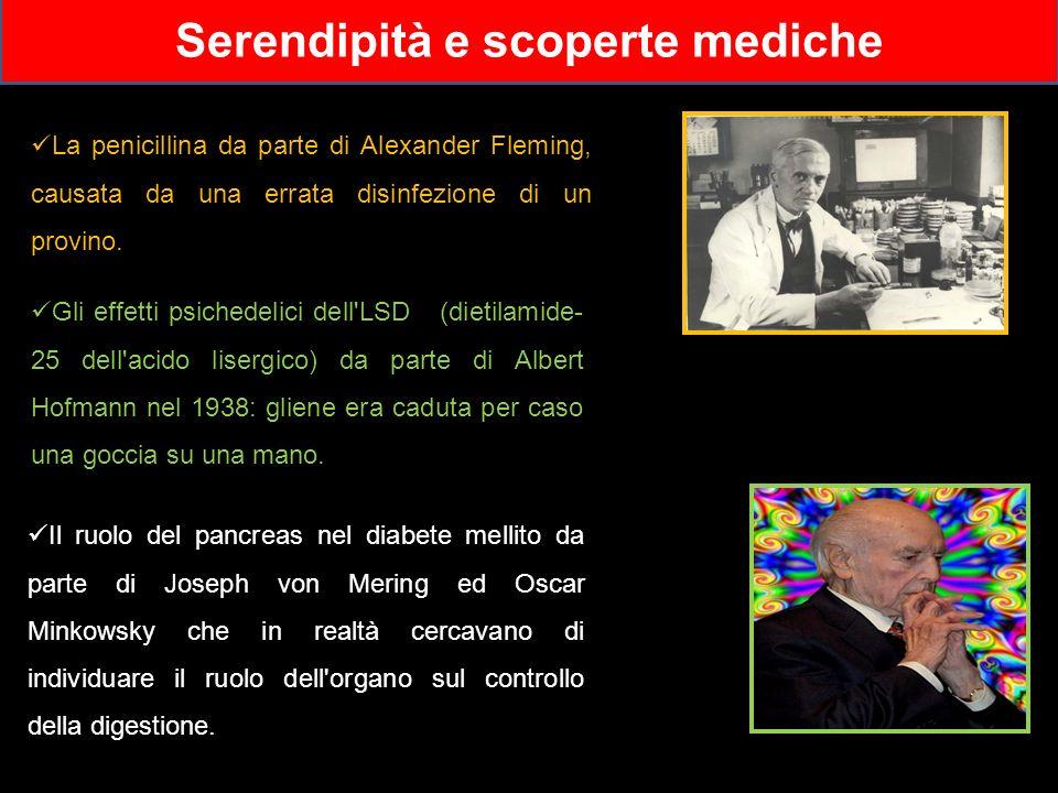 Serendipità e scoperte mediche Il ruolo del pancreas nel diabete mellito da parte di Joseph von Mering ed Oscar Minkowsky che in realtà cercavano di i