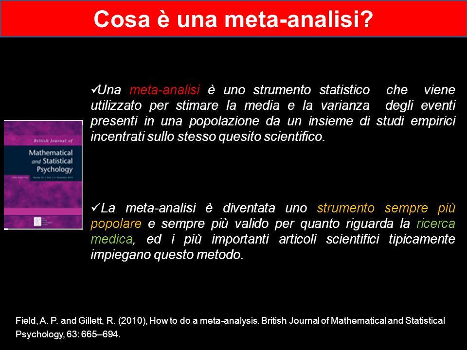 Una meta-analisi è uno strumento statistico che viene utilizzato per stimare la media e la varianza degli eventi presenti in una popolazione da un ins