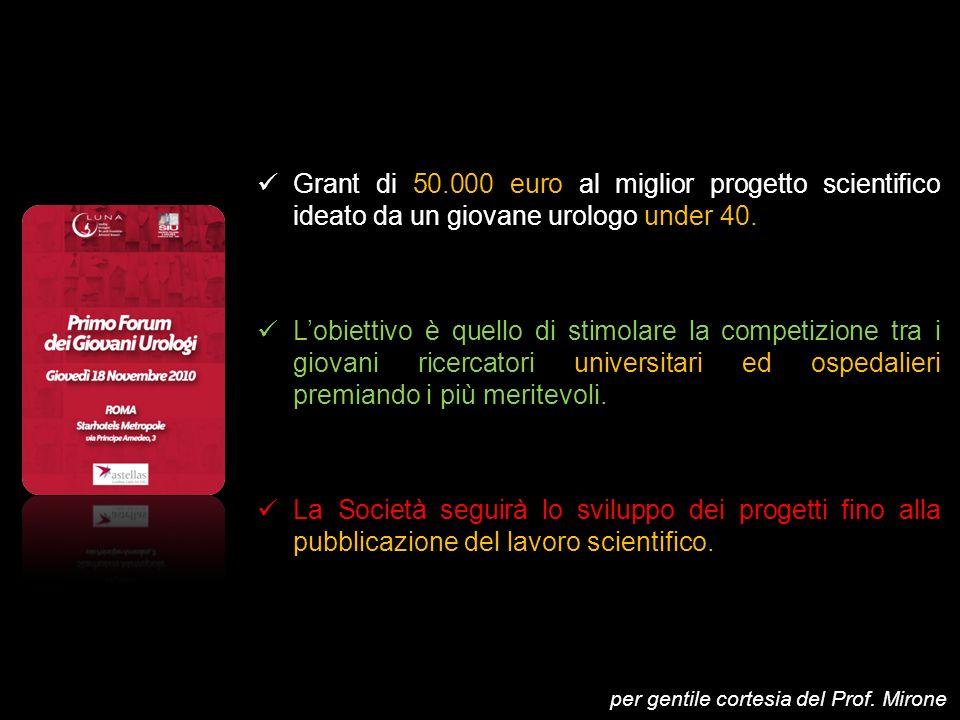 Grant di 50.000 euro al miglior progetto scientifico ideato da un giovane urologo under 40. Lobiettivo è quello di stimolare la competizione tra i gio