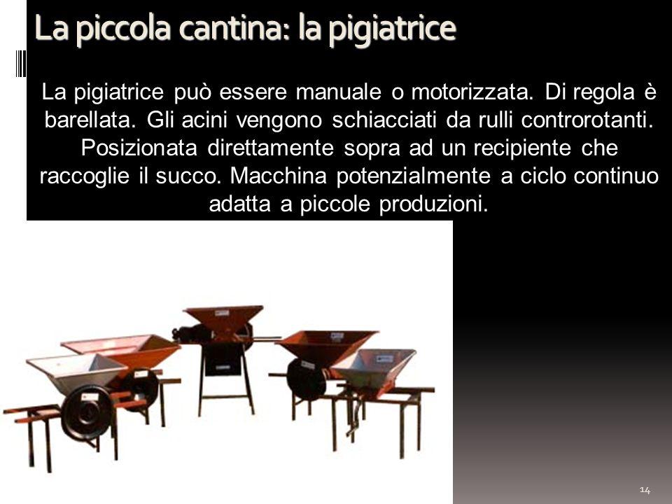 La piccola cantina: la pigiatrice 14 La pigiatrice può essere manuale o motorizzata. Di regola è barellata. Gli acini vengono schiacciati da rulli con