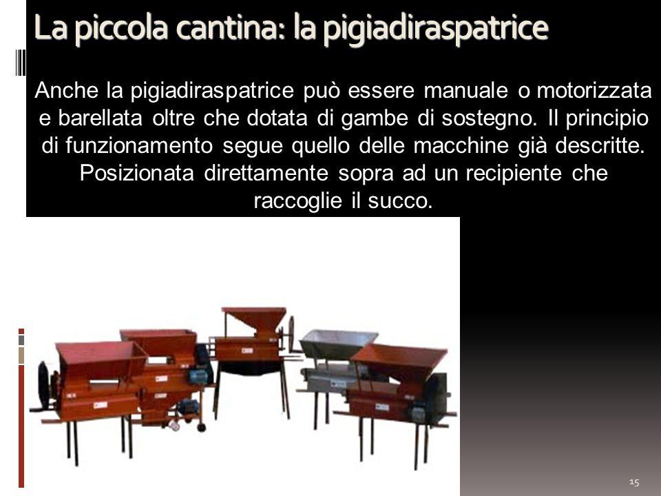 La piccola cantina: la pigiadiraspatrice 15 Anche la pigiadiraspatrice può essere manuale o motorizzata e barellata oltre che dotata di gambe di soste