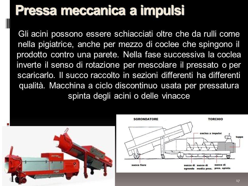 17 Pressa meccanica a impulsi Gli acini possono essere schiacciati oltre che da rulli come nella pigiatrice, anche per mezzo di coclee che spingono il prodotto contro una parete.