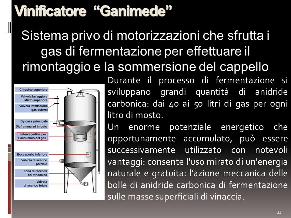 33 Vinificatore Ganimede Sistema privo di motorizzazioni che sfrutta i gas di fermentazione per effettuare il rimontaggio e la sommersione del cappello Durante il processo di fermentazione si sviluppano grandi quantità di anidride carbonica: dai 40 ai 50 litri di gas per ogni litro di mosto.