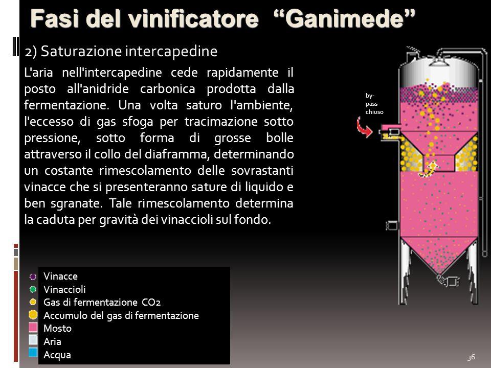 36 Fasi del vinificatore Ganimede 2) Saturazione intercapedine Vinacce Vinaccioli Gas di fermentazione CO2 Accumulo del gas di fermentazione Mosto Ari