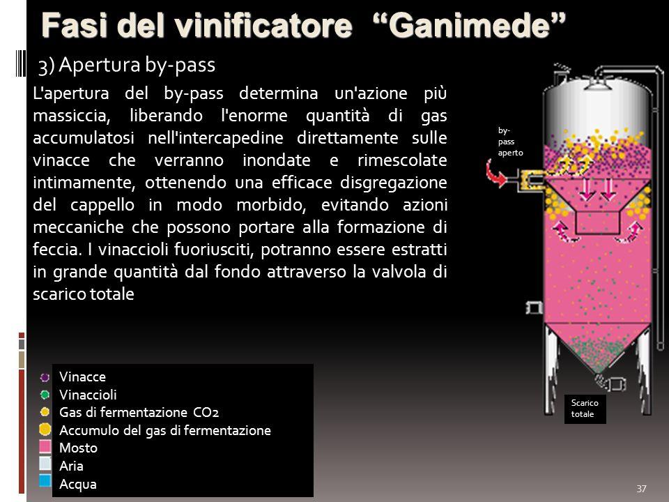 37 Fasi del vinificatore Ganimede 3) Apertura by-pass Vinacce Vinaccioli Gas di fermentazione CO2 Accumulo del gas di fermentazione Mosto Aria Acqua b