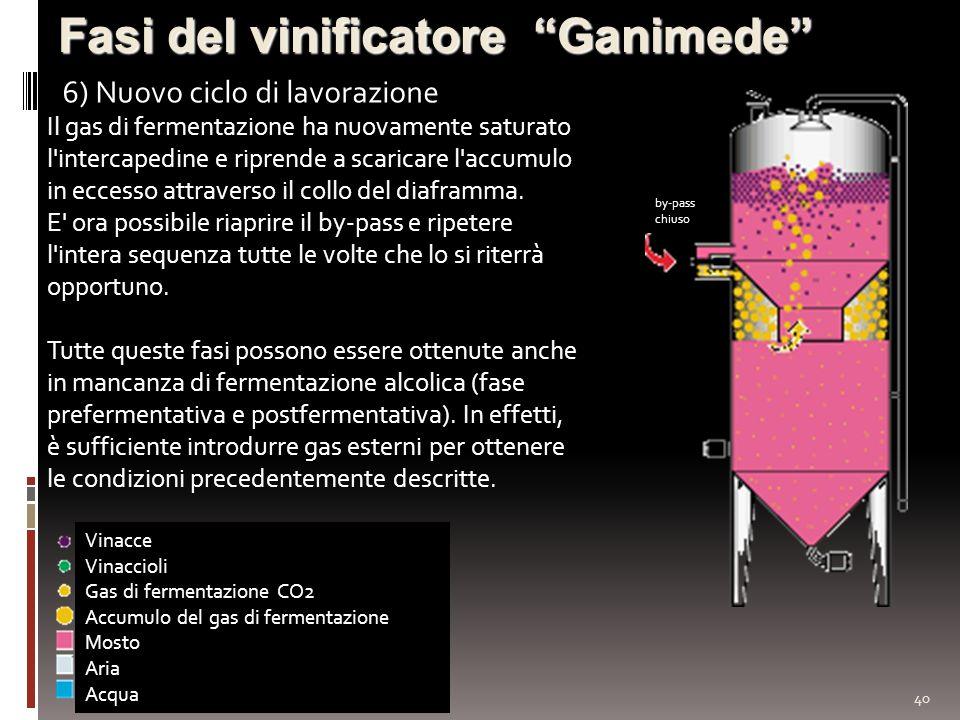 40 Fasi del vinificatore Ganimede 6) Nuovo ciclo di lavorazione Vinacce Vinaccioli Gas di fermentazione CO2 Accumulo del gas di fermentazione Mosto Ar