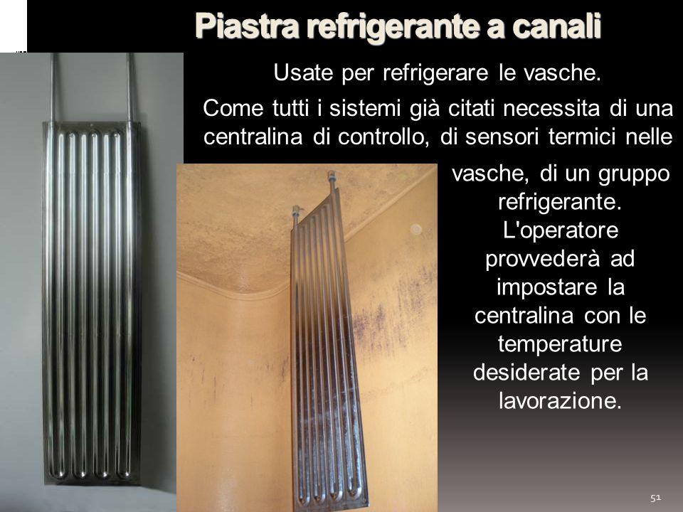 51 Piastra refrigerante a canali vasche, di un gruppo refrigerante. L'operatore provvederà ad impostare la centralina con le temperature desiderate pe