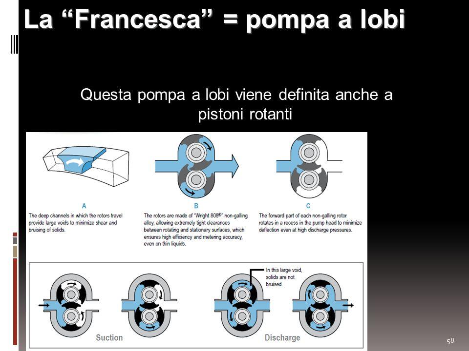 58 La Francesca = pompa a lobi Questa pompa a lobi viene definita anche a pistoni rotanti