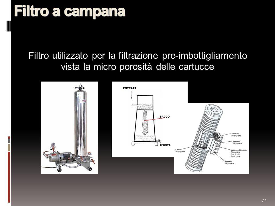 72 Filtro a campana Filtro utilizzato per la filtrazione pre-imbottigliamento vista la micro porosità delle cartucce