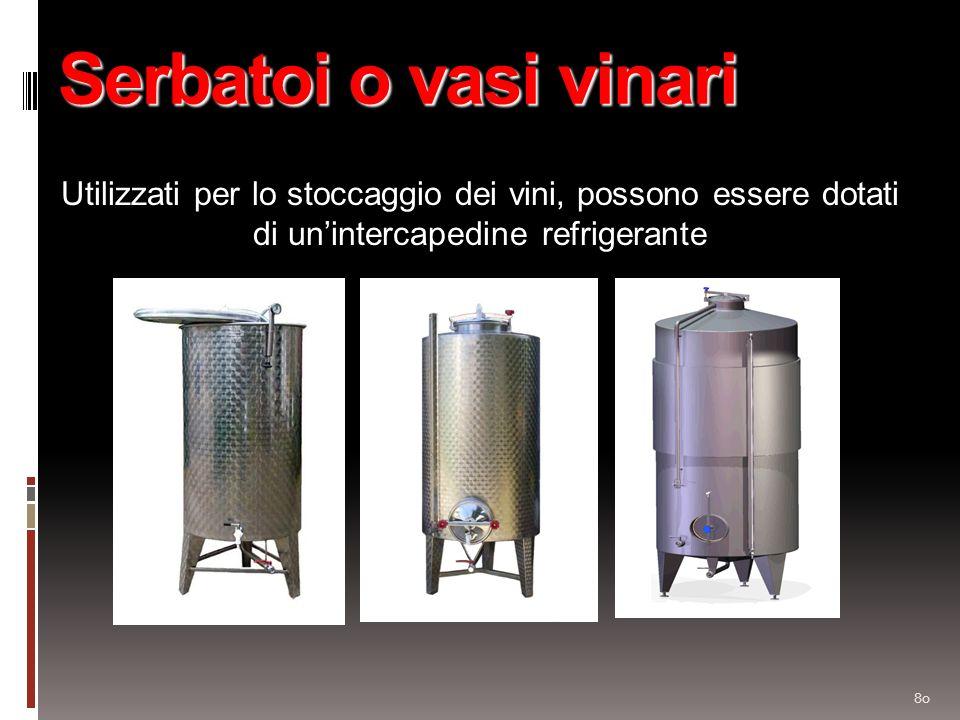 80 Serbatoi o vasi vinari Utilizzati per lo stoccaggio dei vini, possono essere dotati di unintercapedine refrigerante