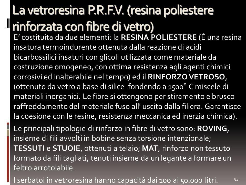 La vetroresina P.R.F.V. (resina poliestere rinforzata con fibre di vetro) E costituita da due elementi: la RESINA POLIESTERE (É una resina insatura te