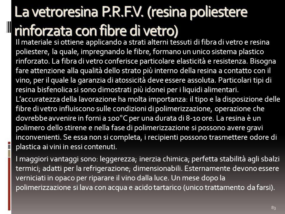 La vetroresina P.R.F.V. (resina poliestere rinforzata con fibre di vetro) Il materiale si ottiene applicando a strati alterni tessuti di fibra di vetr