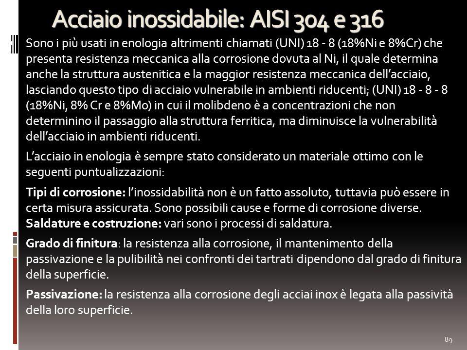 Acciaio inossidabile: AISI 304 e 316 Sono i più usati in enologia altrimenti chiamati (UNI) 18 - 8 (18%Ni e 8%Cr) che presenta resistenza meccanica al