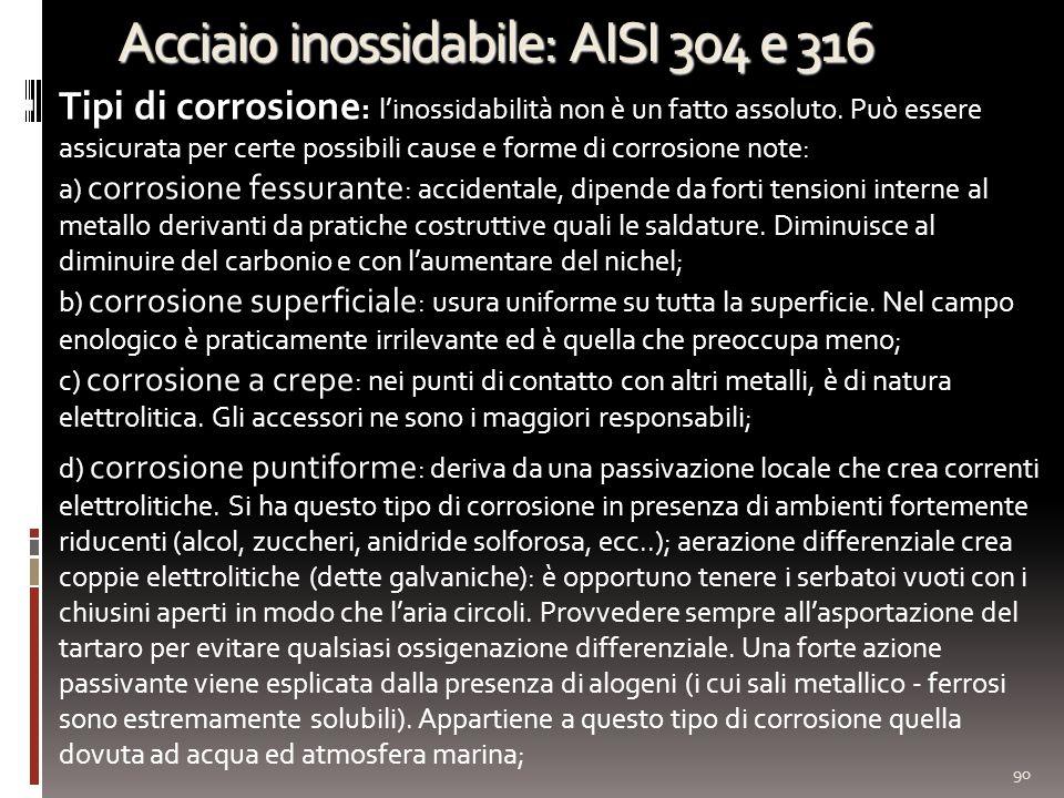 Acciaio inossidabile: AISI 304 e 316 Tipi di corrosione : linossidabilità non è un fatto assoluto. Può essere assicurata per certe possibili cause e f