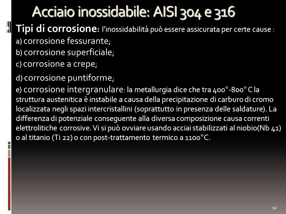Acciaio inossidabile: AISI 304 e 316 Tipi di corrosione : linossidabilità può essere assicurata per certe cause : a) corrosione fessurante ; b) corrosione superficiale ; c) corrosione a crepe ; d) corrosione puntiforme ; e) corrosione intergranulare : la metallurgia dice che tra 400°-800° C la struttura austenitica è instabile a causa della precipitazione di carburo di cromo localizzata negli spazi intercristallini (soprattutto in presenza delle saldature).