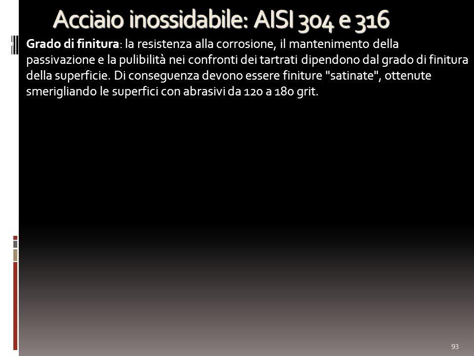 Acciaio inossidabile: AISI 304 e 316 Grado di finitura: la resistenza alla corrosione, il mantenimento della passivazione e la pulibilità nei confronti dei tartrati dipendono dal grado di finitura della superficie.