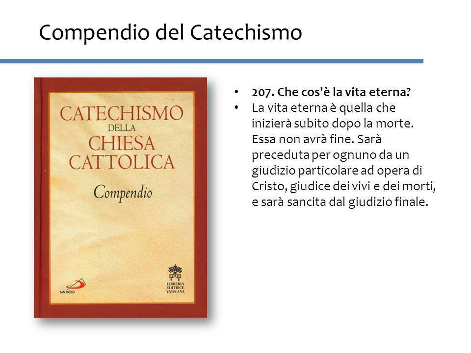 Compendio del Catechismo 207. Che cos'è la vita eterna? La vita eterna è quella che inizierà subito dopo la morte. Essa non avrà fine. Sarà preceduta