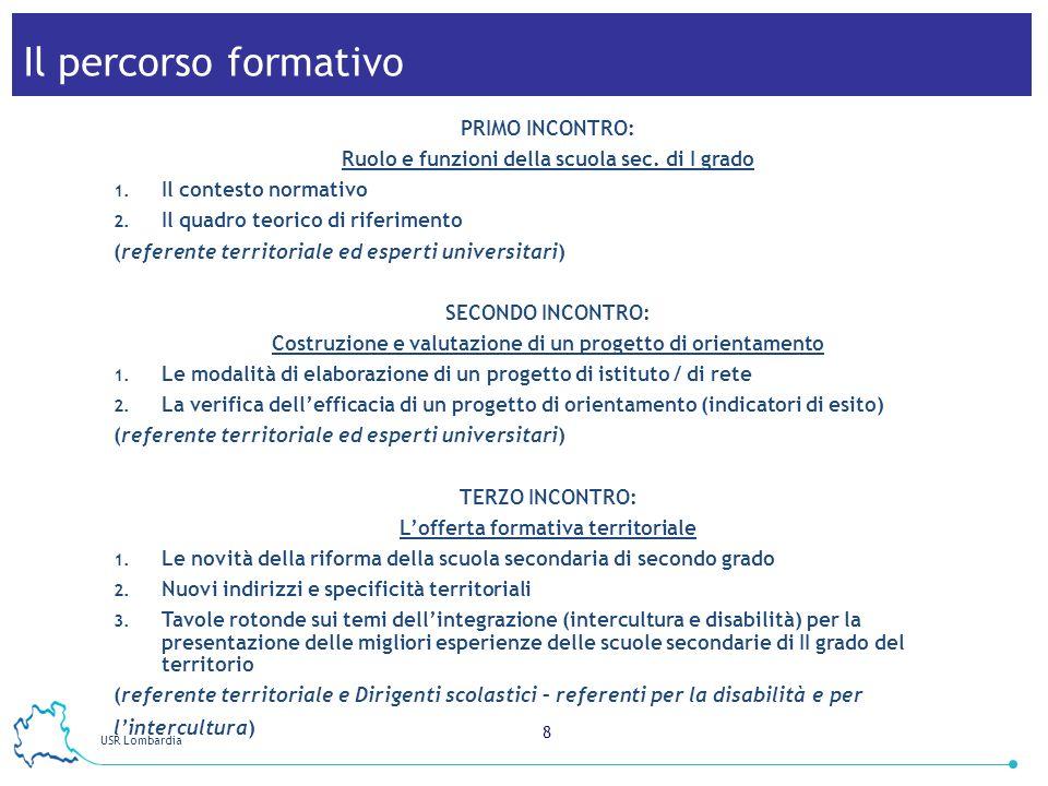 USR Lombardia 8 Il percorso formativo PRIMO INCONTRO: Ruolo e funzioni della scuola sec.