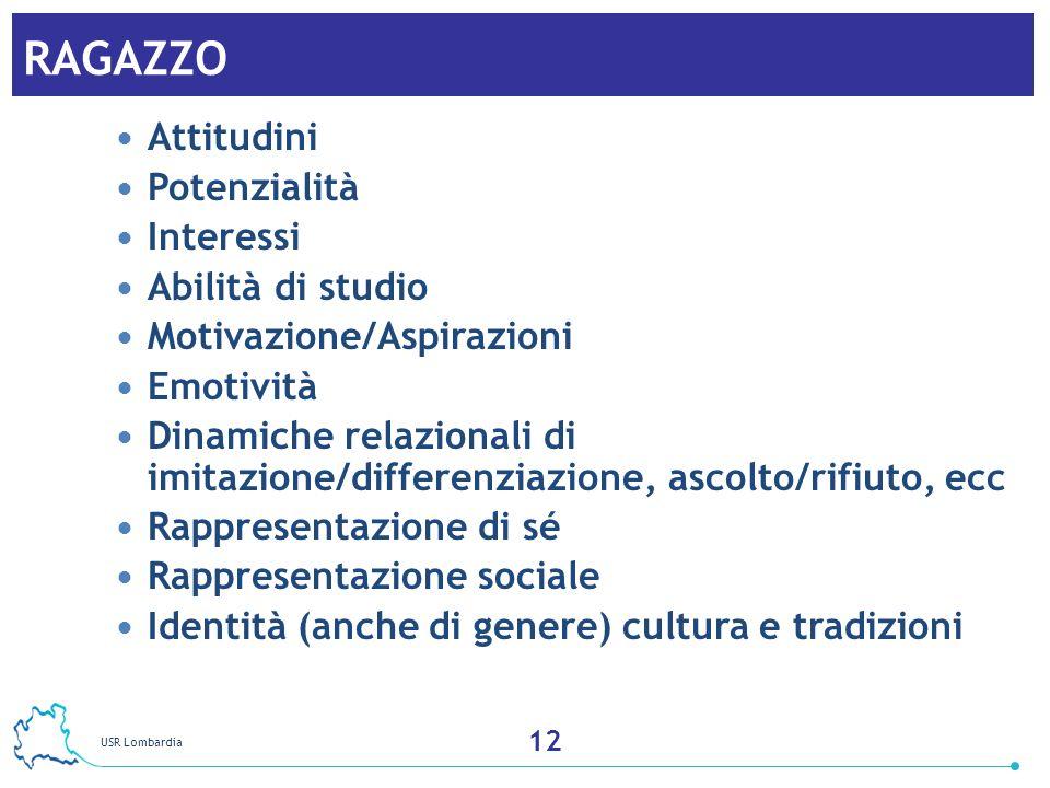 USR Lombardia 13 RAGAZZO Attitudini Potenzialità Interessi Abilità di studio Motivazione/Aspirazioni Emotività Dinamiche relazionali di imitazione/dif